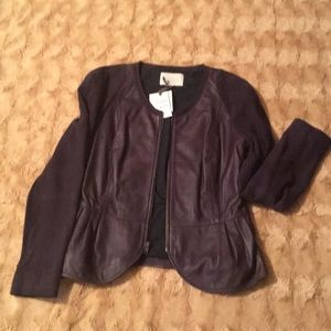 NWT, 100% Leather and Suede Peplum Jacket by Hinge
